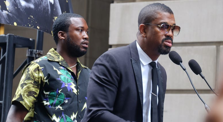 Meek Mill supporters rallied outside of the Juanita Kidd Stout Center for Criminal Justice in Philadelphia on August 27, 2019.