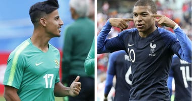 From left: Australia's Daniel Arzani and France's Kylian Mbappe