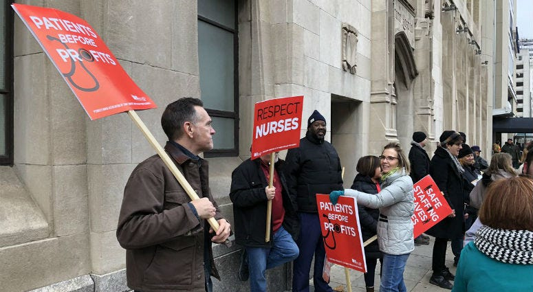 Nurses at Hahnemann and St. Chris rally in Center City as they enter the new year without a contract