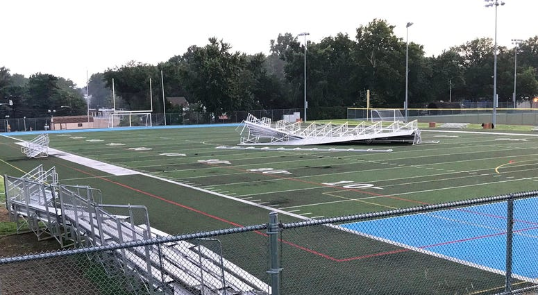 At Father Judge High School in Holmesburg, bleachers blew from the sidelines onto the school's football field.
