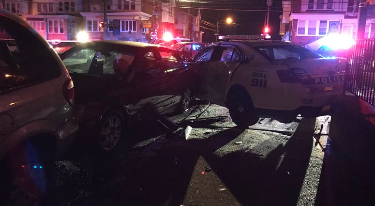 A Philly cop was hurt in a crash early this morning in Mayfair.