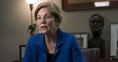 Sen. Elizabeth Warren talks with USA Today about the CFPB at her office in the Hart Building on Wednesday.