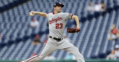 Washington Nationals' Erick Fedde pitches during the third inning of the first game of a baseball doubleheader against the Philadelphia Phillies, Tuesday, Sept. 11, 2018, in Philadelphia.