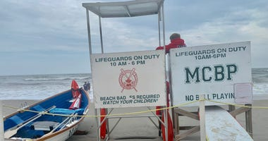 A lifeguard station in Margate City, which has seen more rip current activity in the wake of Tropical Storm Fay.