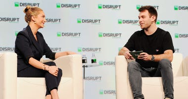 San Francisco, CA; Sept. 6, 2018; Bumble Founder and CEO Whitney Wolfe Herd (left) and moderator Fitz Tepper speak onstage during Day 2 of TechCrunch Disrupt SF 2018 at Moscone Center.