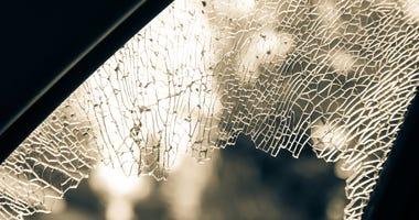 Broken car window.