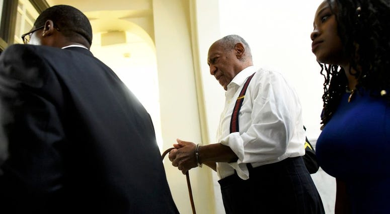 Bill Cosby is taken away in handcuffs after being sentenced to 3-10 years.