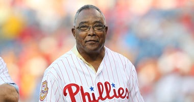 Former Philadelphia Phillies infielder Tony Taylor takes part in the Alumni Night celebration
