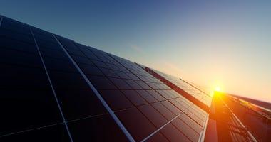 Rendering of solar panels in dim light