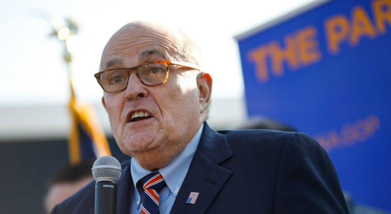 Former New York City Mayor Rudy Giuliani arrives to campaign for Republican Senate hopeful Mike Braun on November 3, 2018 in Franklin Township, Indiana. Braun is locked in a tight race with incumbent Democrat Sen. Joe Donnelly.