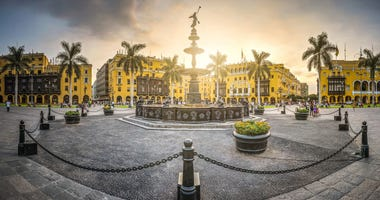 Antique iron pool of the main square of Lima, Peru