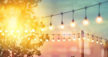 String of lights outside restaurant