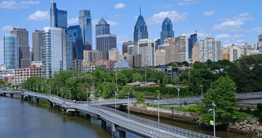 Philadelphia skyline along the Schuylkill River, known as the Schuylkill Banks.