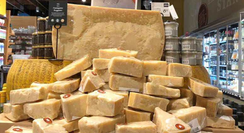 Parmigiano Reggiano cheese imported from Italy is displayed at a Whole Foods store on August 26, 2019 in Mill Valley, California.
