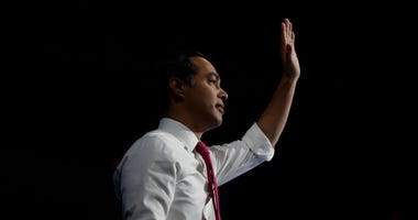 Former Secretary of Housing and Presidential candidate Julian Castro waves during The Iowa Democratic Party Liberty & Justice Celebration on November 1, 2019 in Des Moines, Iowa.