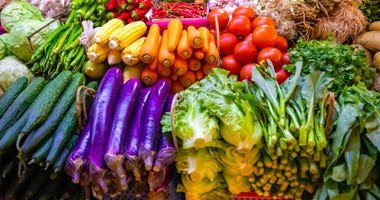 Fresh vegetables and fruits at produce market
