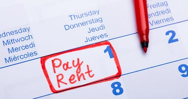 A note on a calendar to pay rent