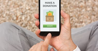 Making a donation on a cellphone
