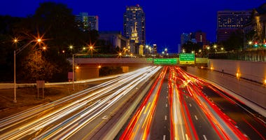 Long exposure photo of Philadelphia's Vine Street Expressway