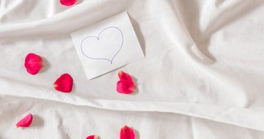 Love note with hand drawn heart and pink rose petals