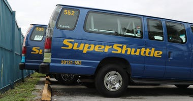 A SuperShuttle vehicle is seen parked in Miami, Florida on Friday.