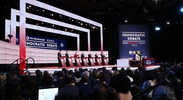 Democratic presidential candidates participate in a televised debate on December 19, 2019 at Loyola Marymount University in Los Angeles, California.
