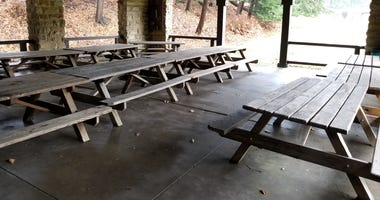 Empty camp picnic tables