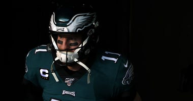 Quarterback Carson Wentz #11 of the Philadelphia Eagles takes the field before playing against the Seattle Seahawks.