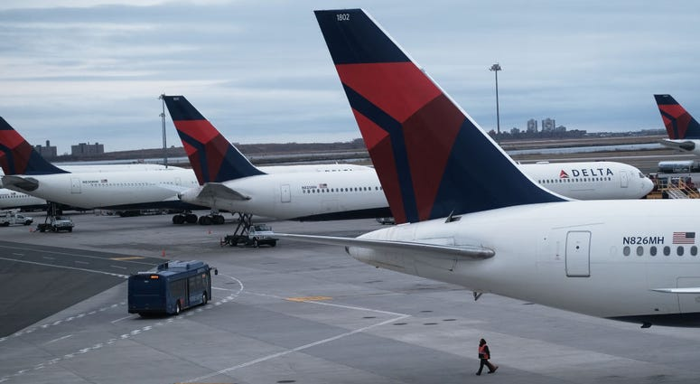 Airplanes sit on the tarmac at John F. Kennedy Airport (JFK) on January 31, 2020 in New York City. As fears grow around the globe over the Coronavirus, airlines and other travel industries are bracing for a sharp loss of business as people cut back.