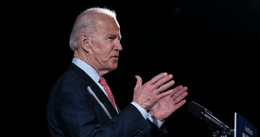 Democratic presidential candidate former Vice President Joe Biden delivers remarks about the coronavirus outbreak, at the Hotel Du Pont March 12, 2020 in Wilmington, Delaware.