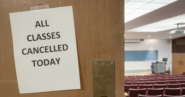 Cancellation notice on a classroom door