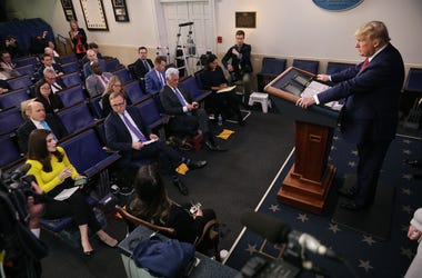 U.S. President Donald Trump listens to a question from a reporter while speaking on the latest developments of the coronavirus outbreak, in the James Brady Press Briefing Room at the White House March 19, 2020 in Washington, DC.
