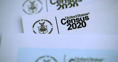 SAN ANSELMO, CALIFORNIA - MARCH 19: The U.S. Census logo appears on census materials received in the mail with an invitation to fill out census information online.