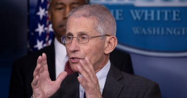 Anthony Fauci, Director of the National Institute of Allergy and Infectious Diseases speaks during a briefing in the James Brady Press Briefing Room at the White House on March 21, 2020 in Washington, D.C.