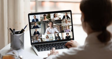Video conference on a laptop