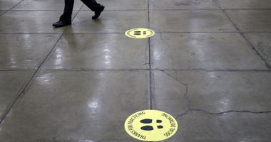 Markings for journalists practicing social distancing are seen at the basement of the U.S. Capitol