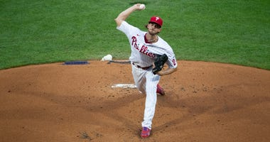 The Phillies' Aaron Nola throws a pitch in the top of the first inning during Opening Day game against the Miami Marlins at Citizens Bank Park on July 24, 2020 in Philadelphia, Pennsylvania.