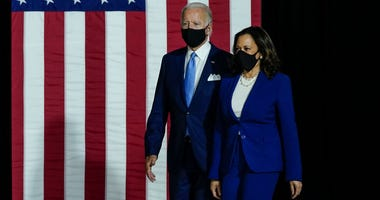Presumptive Democratic presidential nominee former Vice President Joe Biden and his running mate Sen. Kamala Harris (D-CA) arrive to deliver remarks at the Alexis Dupont High School