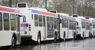 SEPTA buses at Frankford terminal in Philadelphia