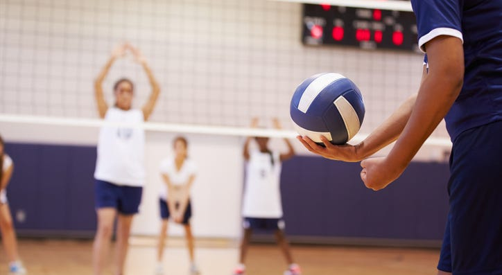 A volleyball game.
