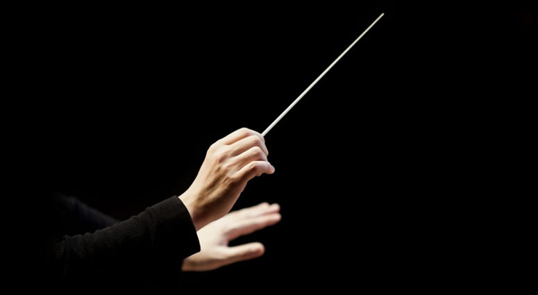 A conductor's hands.