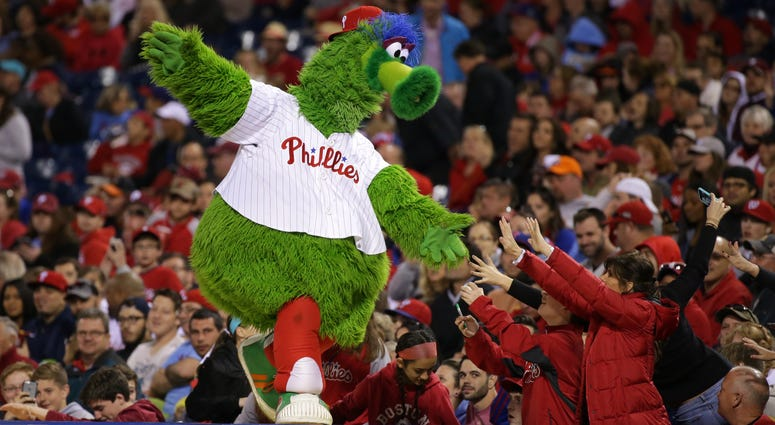 The Phillie Phanatic entertains some fans in the seventh inning during a game between the Philadelphia Phillies and the Washington Nationals at Citizens Bank Park on April 16, 2016.