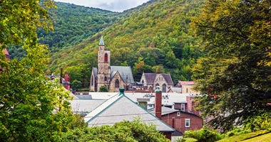 Historic old buildings and the scenic landscape of Jim Thorpe, Pennsylvania
