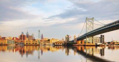The Delaware River, showing Philadelphia skyline.
