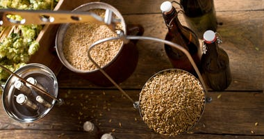 Weighing malt for home brewing of beer.