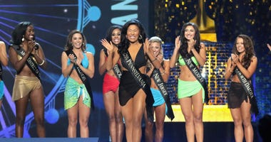 Miss Pennsylvania 2017 Katie Schreckengast celebrates the round of victory during the 2018 Miss America Competition Show at Boardwalk Hall Arena on September 10, 2017 in Atlantic City, New Jersey.