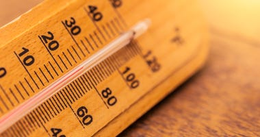 Closeup of a thermometer on a hot day