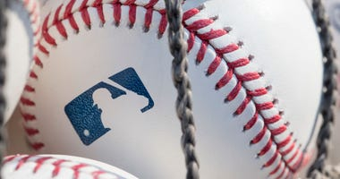 PHILADELPHIA, PA - JUNE 28: A baseball with MLB logo is seen at Citizens Bank Park before a game between the Washington Nationals and Philadelphia Phillies.