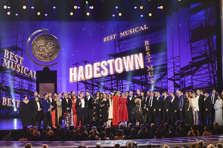"""The company of """"Hadestown,"""" accept the award for best musical at the 73rd annual Tony Awards at Radio City Music Hall on Sunday, June 9, 2019, in New York."""