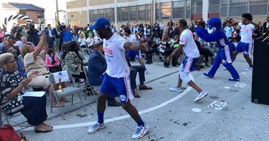 76ers Dunk Squad entertains students at ceremonies at Robert Morris Elementary